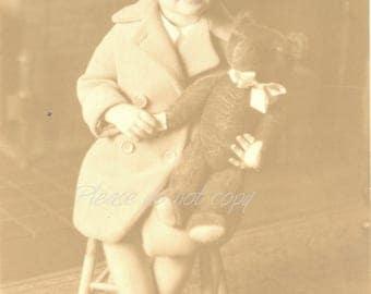 teddy bear ~ Vintage Studio Portrait Photo