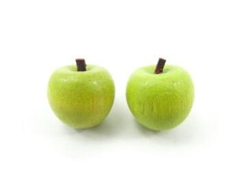 Vintage Green Apple Earrings, Carved Wood, Posts