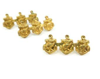 Vintage Navy Anchor Pins, Gold Plate, Militaria