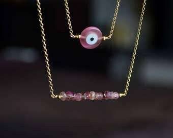Pink tourmaline bar pink evil eye double layered necklace, evil eye necklace, layered necklace, double necklace, tourmaline necklace
