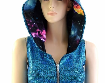 Turquoise on Black Shattered Glass Zipper Front Sleeveless Crop Hoodie with Lilac Holographic Spikes & UV Glow Galaxy Hood Liner 154019