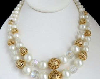Kramer Pearl Necklace, Vintage Designer Signed Faux Pearl Filigree Bead Double Strand Necklace, FREE SHIPPING