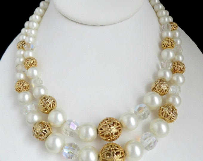 Kramer Pearl Necklace, Vintage Designer Signed Faux Pearl Filigree Bead Double Strand Necklace