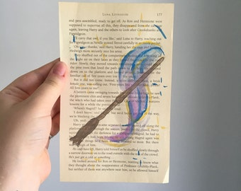 Luna Lovegood themed hand painted water colour Harry Potter book pages.