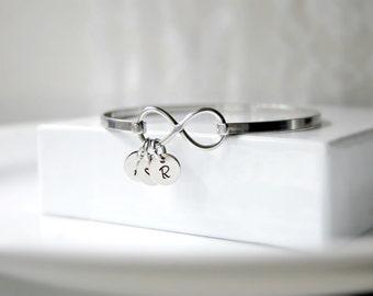 Infinity Bangle, Infinity Bracelet, Infinity Charm Bangle, Initial Jewelry, Family Bracelet, Stainless Steel Bangle, Personalized Bracelet