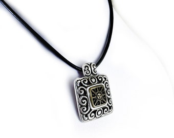Sun Necklace, Leather Necklace, Antique Silver Pendant with Bronze Sun , Ethnic Tribal Bohemian Necklace Jewelry, Mixed Metals Necklace