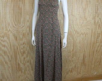Vintage 1970's Pucker Cotton Calico Floral Hippie Halter Maxi Dress XS