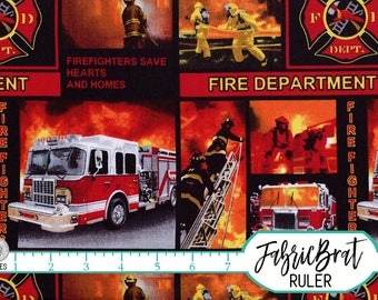 FIRETRUCK FIREMAN Fabric by the Yard, Fat Quarter Red Fire Department Fabric Quilting Fabric Apparel Fabric 100% Cotton Fabric t2-31