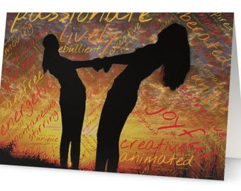 Gay Lesbian Marriage, Wedding Congratulations Greeting Card photo, Silhouette women holding hands, sunset