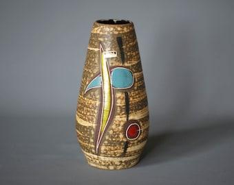 WEST GERMAN POTTERY Vase, Scheurich Vase 529 25, Mid Century German Vase, Made in Germany, 1950s German Ceramic Vase, Rustic German Vase