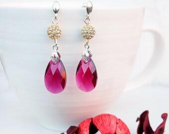 Sterling Silver Ruby Swarovski Earrings-Silver Studs Earrings-Swarovski Jewellery-Red Swarovski Crystals-Red Gold Dangle Elegant Earrings