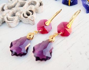 Long ruby amethyst Swarovski crystal earrings 24k gold plated jewellery Amethyst Swarovski baroque Amethyst gold bridesmaids drop earrings 1