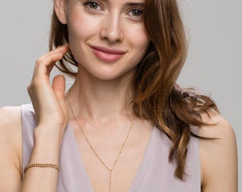Satellite Lariat Necklace, Y necklace - small beaded Sterling silver and 14K Gold filled   EL006