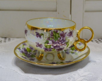 Vintage Lusterware Teacup Saucer Purple Violet Footed Cup Rings Iridescent Gold Accents PanchosPorch