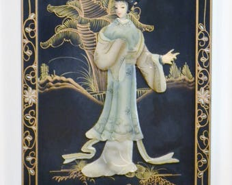 Vintage Black Lacquer Panel Geisha Mother of Pearl Shell Woman Asian Oriental Chinoiserie Made in Japan PanchosPorch