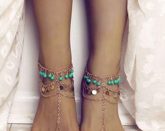 Dakota Barefoot Sandals Bohemian Anklet Turquoise Jewelry Foot Jewelry Gypsy Sandals Foot Thong Gold Slave Anklet Belly Dancing Shoes Sandal