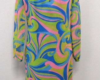 Groovy Psychedelic Vintage Shift Dress