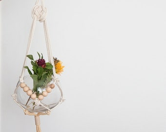 Tan macrame plant hanger, dyed plant hanger, pot plant holder, plant hanging basket, rope pot planter, indoor planter, terrarium holder