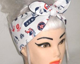 Reversible Nautical Head scarf Headband Pinup Vintage Retro Style Navy blue  White Anchors Print Sailor
