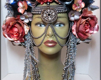 Ready to ship -LED lighted Headpiece ~ Head dress ~ Bellydance ~ Burning Man, Fantasy Wear, Fairy Head dress, Fairy Headpiece, burlesques