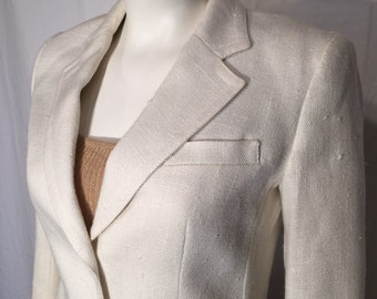 Vintage 8 Small S Off White Linen Look Nubby Blazer Jacket 2 Button The Villager 70s Seventies