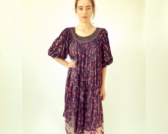 Indian Cherry Blossom Dress // vintage 70s 1970s gauze ethnic boho hippie Indian midi hippy bohemian floral midi cotton hand blocked // O/S