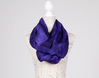 evening silk scarf / Infinity violet silk scarf / blue violet silk circle scarf/ purple loop scarf / purple business suit scarf