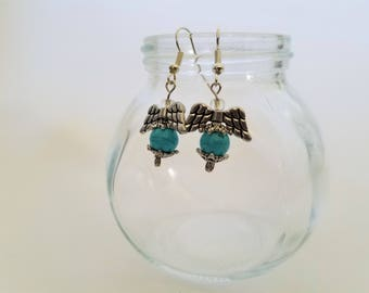 Handmade Blue and Silver Dangle Angel Earrings
