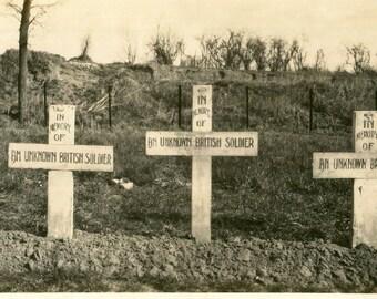 Antique Photo..Dulhallow Cemetery, Ypres Sector Belgium, 1910's Original Found Photo, Vernacular Photography