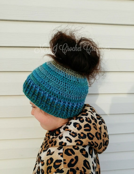 Crochet Messy Bun Hat : Ponytail hat messy bun hat crochet hat by NMJCrochetCreations