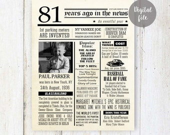 Personalized 81st Birthday Poster - Fun facts 1936 - 81st Birthday Gift for grandpa father in law friend or grandparents - DIGITAL FILE!