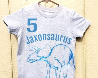 Personalized Kids Dinosaur TShirt. Customized Birthday Shirt. Dinosaur Birthday Shirt. Toddler Dinosaur Shirt. Boys Dinosaur Blue Tshirt.