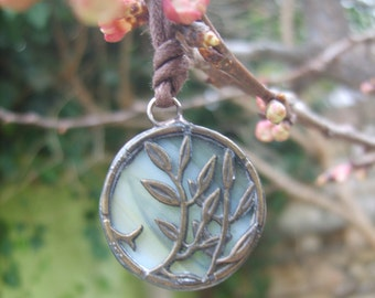 Olive Tree Pendant - Stained Glass Necklace - Olive Green Art Glass - Tree Branch Pendant