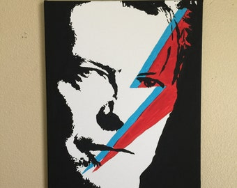 David Bowie Acrylic painting on stretched canvas.