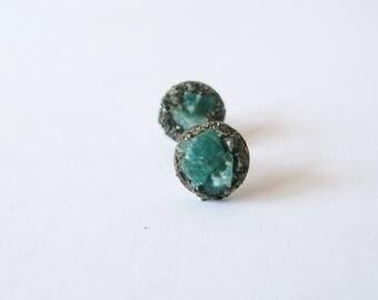 Pyrite ear stud-Raw green amazonite earrings-raw gem silver tone earring-raw gemstone and pyrite earrings-rough green amazonite ear studs