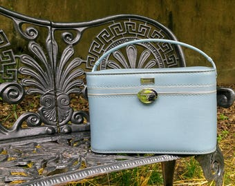 Vintage Amelia Earhart Sixties Pastel Blue Train Case