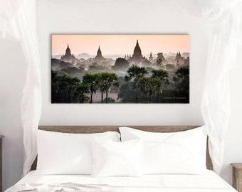 Wall Art Photography, Myanmar, Burma, Buddhist Temple, Sunset, Sunrise, Asia, Epic Landscape, Travel, Peaceful, hot air balloon, many sizes