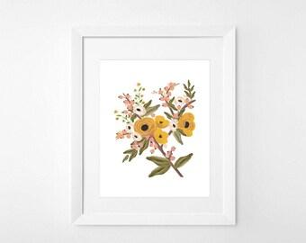 Floral Print 2 || 8x10 || Nursery Poster Print Home Decor Watercolor