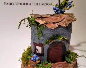 FAIRY TREE HOUSE, blue, tree bark, fairy, woodland, forest, fairy village