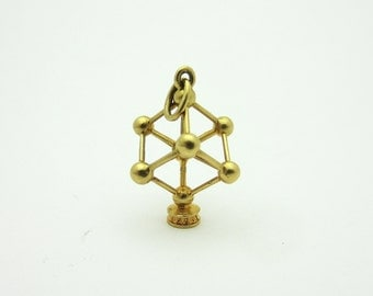 Vintage Atomium Charm 18k Yellow Gold 3D Cube Brussels Belgium Building