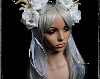 White Deer Headdress ( antlers, fantasy, steampunk, costume, fairy, roses, fascinator, vegan )