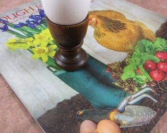 Vintage Mid Century Wooden Egg Cup Farmhouse Breakfast Soft Boiled Egg Holder