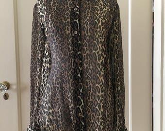 Silk Sheer Leopard Print Vintage Blouse