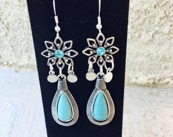 Turquoise Tear Drop Star Drop Earrings