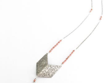 The Boho Babe - Silver chevron pendant tassel necklace.