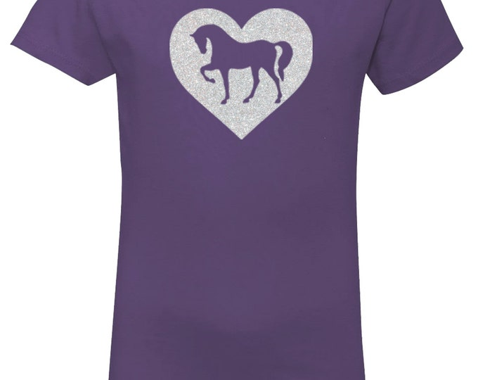 Featured listing image: Purple Horse Shirt for Girls, Sparkle Heart Pony Purple Short Sleeve Tee, Equestrian Clothing, Riding Shirt, Horse Clothes