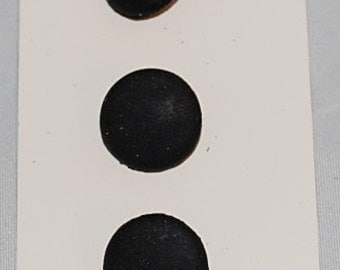 5/8 Inch Round Black Shank Buttons on card by JHB International - 3 Buttons per Card