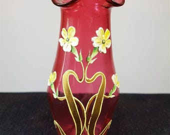 Antique Art Nouveau Hand Painted Cranberry Glass Posy Flower Vase Late 1800's - Early 1900's Original