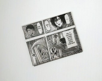 CLEARANCE SALE - Attack on Titan Using Three Dimensional Maneuver Gear mikasa and levi  - Manga Comic Book Upcycled Vinyl Wallet