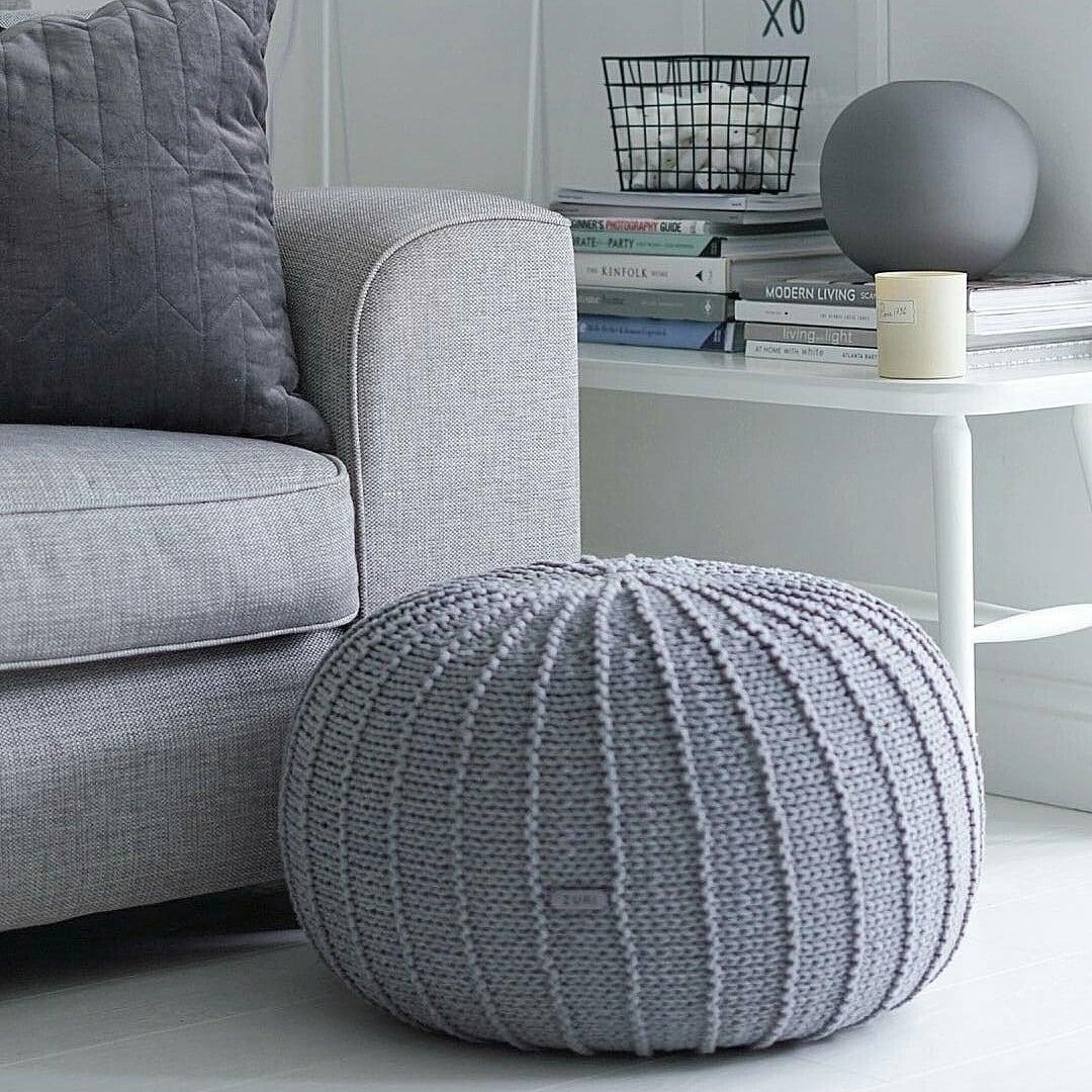 Large Grey Floor Pouf Ottoman Knitted Pouf Knit Pouf